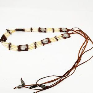Belt Brown Leather Bone Beads Concho Boho Festival